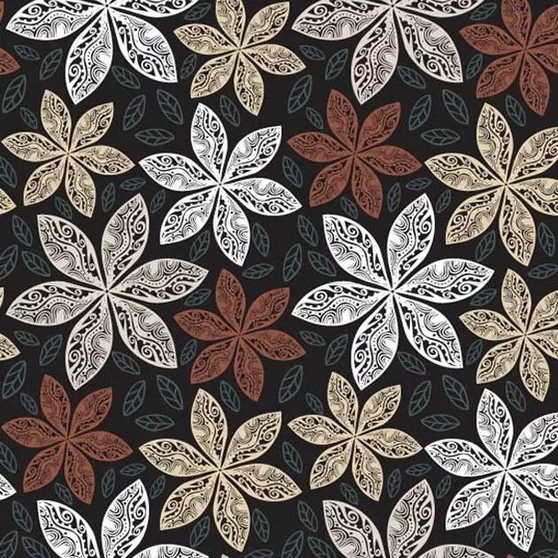 brownpattern l - Brown flower patterns vector