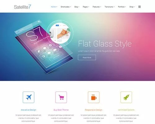 satellite7 flat glass design wordpress theme - Most Expected WordPress Design Trends for 2014
