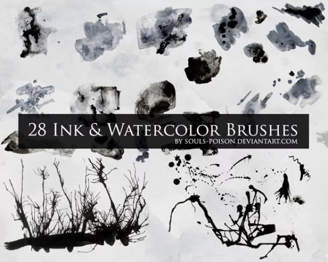 28 Ink and Watercolor Brushes - Free Ink and Watercolor Brush Sets for Photoshop
