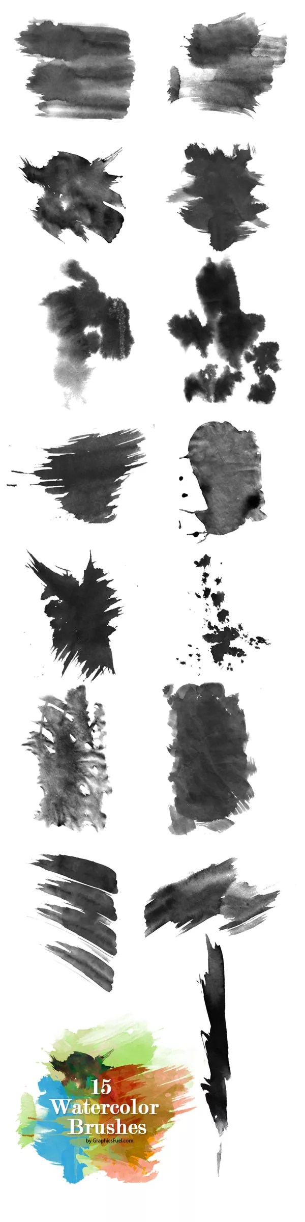 watercolor brushes preview - Free Ink and Watercolor Brush Sets for Photoshop