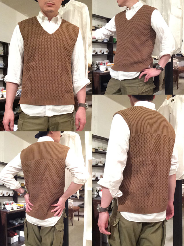 cotton knit v-neck vest DjangoAtour