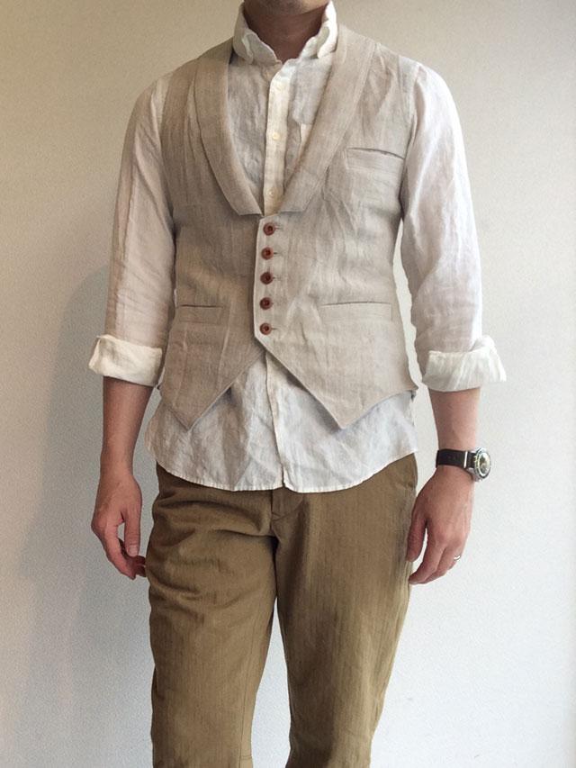 victorians linen waistcoat ecru/DjangoAtour ANOTHERLINE