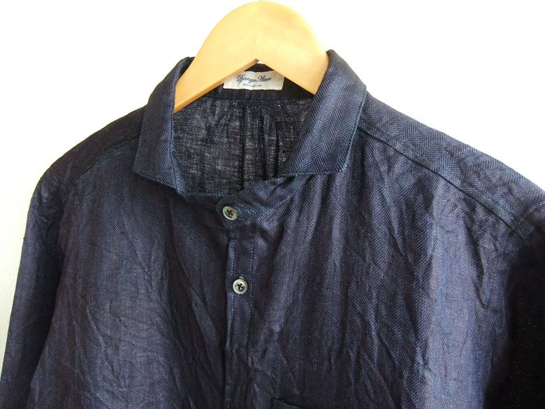 classic frenchwork indigolinen shirt