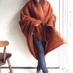 1970's British Mohair Mixed Shawl Redish Brown