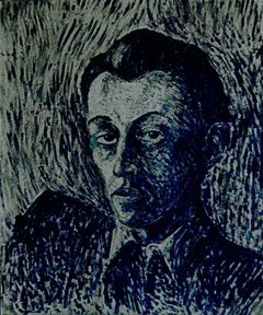 A dark blue painting with visible brushstrokes of a man's head and shoulders