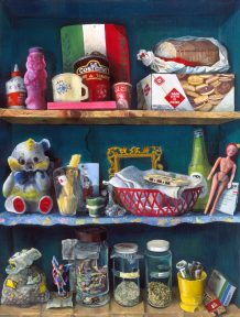 Painting of a kitchen cupboard full of food and toys