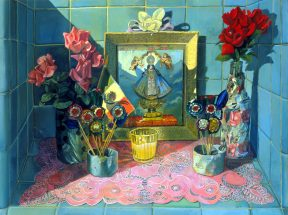Painting of a blue tiled altar with a pink doily and pink flowers