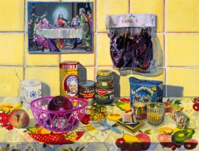 Painting of food and kitchen objects against a yellow tiled wall