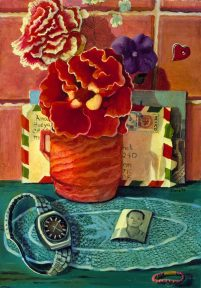Painting of a red vase of flowers and a watch on a blue placemat