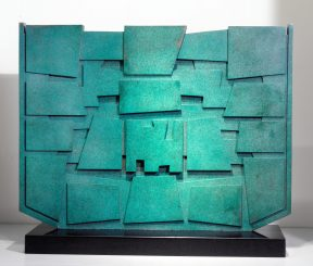 Abstract sculpture in patinated bronze