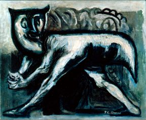 A blue cat outlined in black, painted in oil.