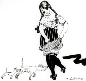 A print of a smiling girl with two small dogs at her feet.