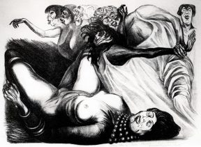 A print in which seven grotesque women partake in a lewd brawl.