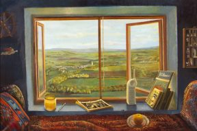 A painting of a large window opening to a view of green hills and pastures. Beneath the window is a blue shelf holding books, a telephone, and a cup. In front of the shelf is a red couch