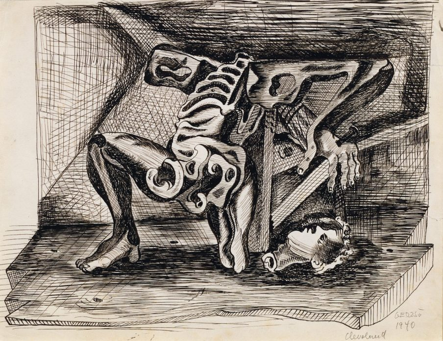 Surrealist pen and ink drawing of a contorted skeleton with a head lying on the ground