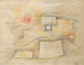 Geometric abstract drawing in pastel tones