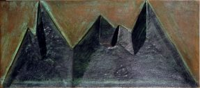 A bronze relief of a jagged black mountain range against a brown background