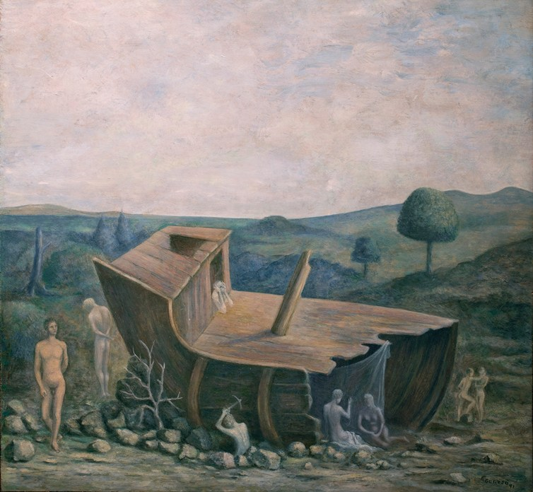 Surrealist painting in blue and grey tones of a wrecked wooden boat in the forefront of a landscape