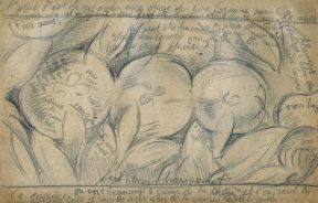 A pencil sketch of apples and their leaves, with handwritten notes by the artist.