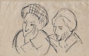 A sketch of two figures, or perhaps two different sketches of the same figure. In both sketches the subject holds their left hand against the side of their face, as if they are thinking about something.