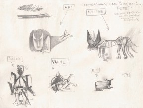 A pencil sketch of various feline and bovine creatures