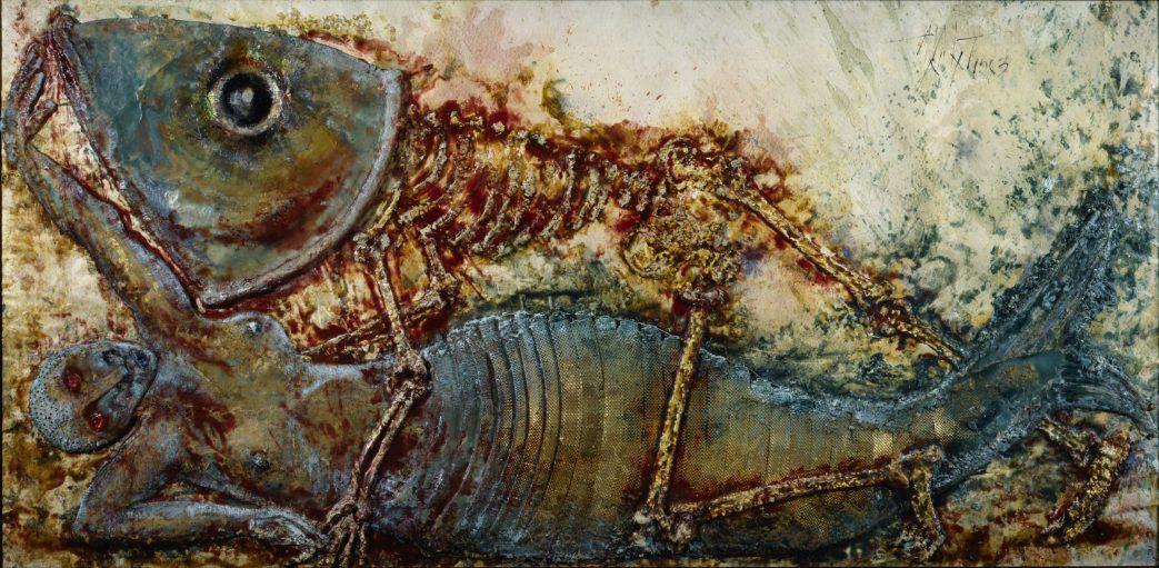 Multimedia artwork of a skeletal fish lying on top of a mermaid