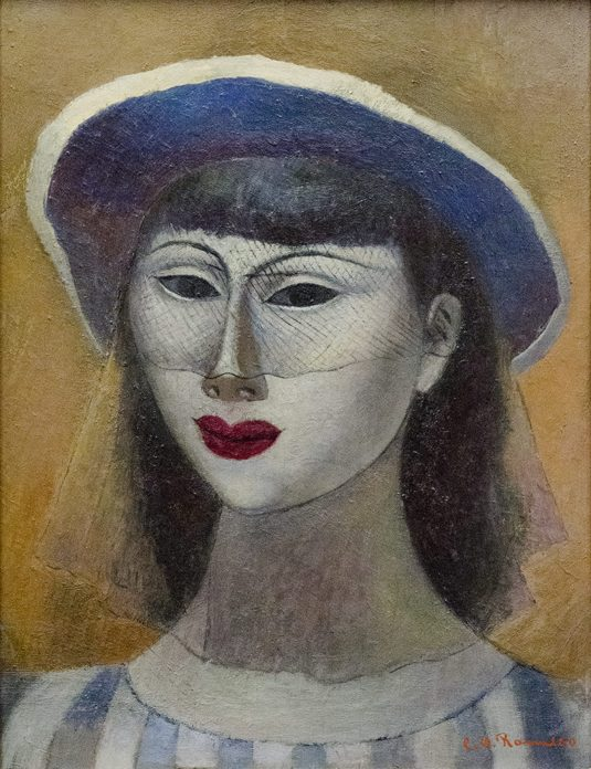 A stylized painted portrait of a woman's face, wearing red lipstick and a blue hat with a veil