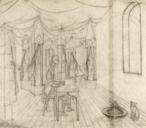 A surrealist pencil drawing of a man seated at a table in the middle of a room making clocks. He is surrounded by grandfather clocks, and a cat sits on the floor.
