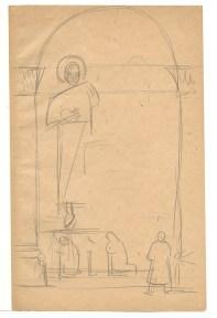 Pencil sketch of statues in a church