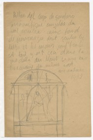 Sketch of a church altar with extensive notes