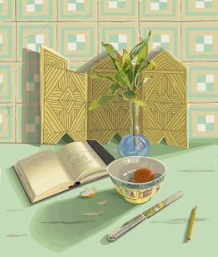 An open book, a bowl, a knife, and other small objects in front of a patterned wall.