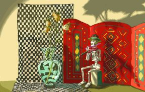 A skeleton wearing a hat seated in front of a red screen.
