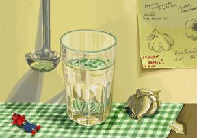 A glass of water and a garlic bulb on a green-checkered tablecloth, with a drawing of the garlic on the wall behind the table.