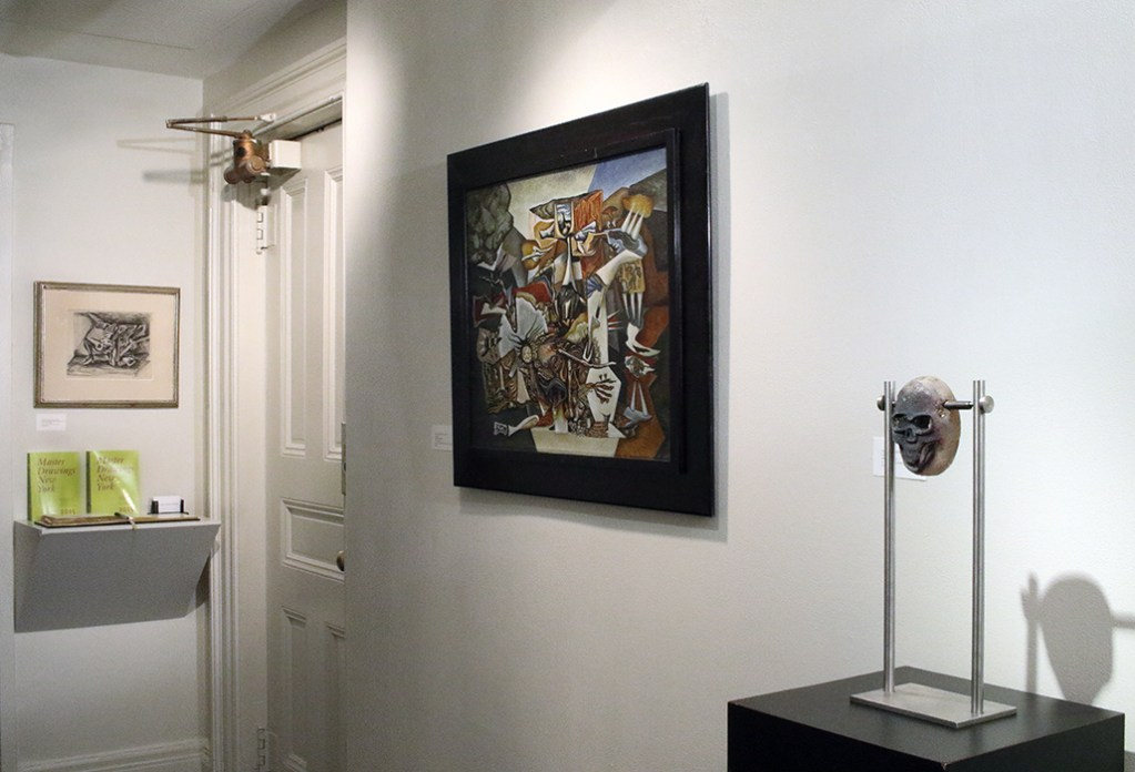 Installation shots of surrealist paintings at the gallery