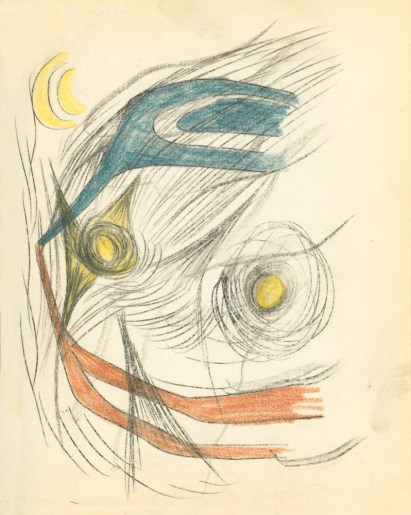 Surrealist pencil drawing of abstract shapes with blue, yellow, and red colors