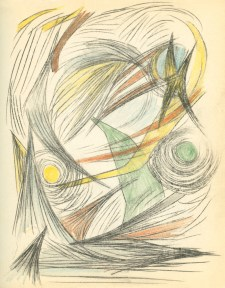 Abstract, Surrealist sketch in colored pencils by Gunther Gerzso