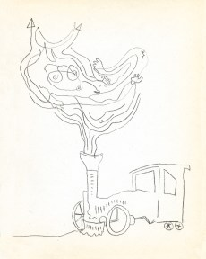 Surrealist sketch of a train by Gunther Gerzso