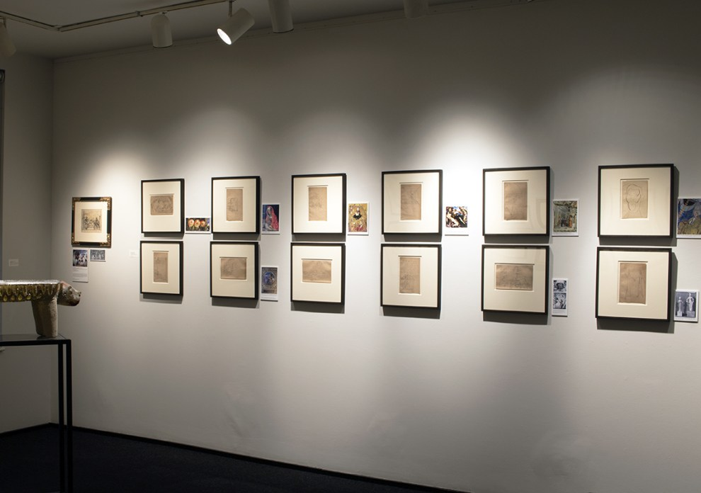 Installation shot of Diego Rivera's Italian sketchbook