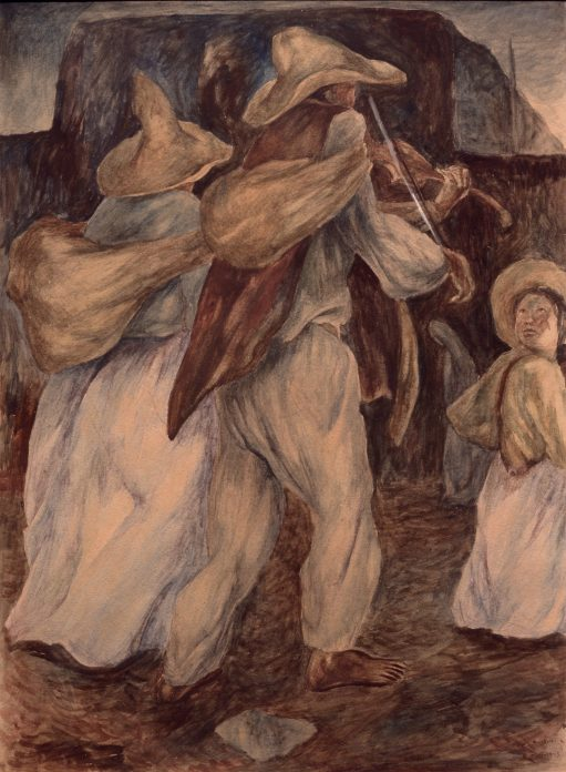 A watercolor in earth tones of two musicians and a little girl looking back at them