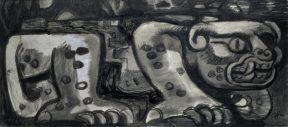 A watercolor in grey tones of a pre-Columbian style jaguar
