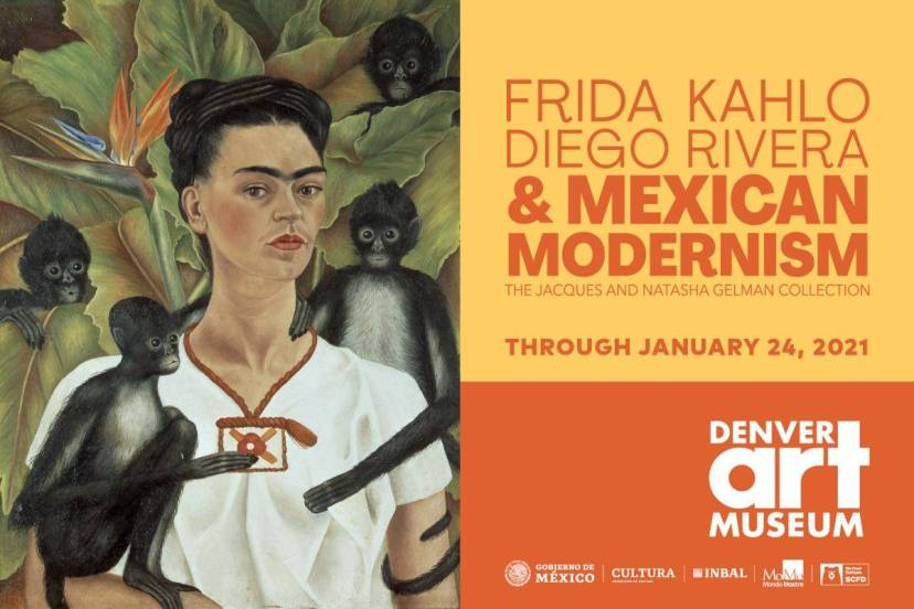Poster for a museum show featuring a painting by Frida Kahlo