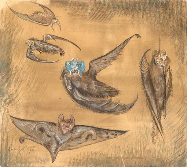 A surrealist painting of five bats in various poses against a beige background