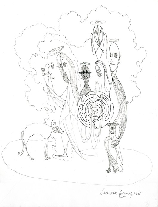 A pen and ink sketch of figures with halos surrounded by clouds. A labyrinth appears in the center of the group.