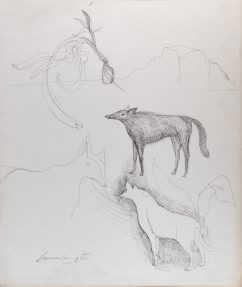 pen and ink drawing of three coyotes in a simply rendered landscape