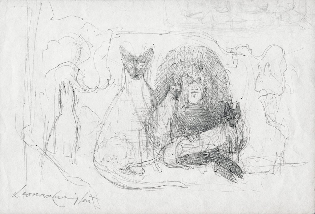 a loose ink sketch of an older woman surrounded by cats
