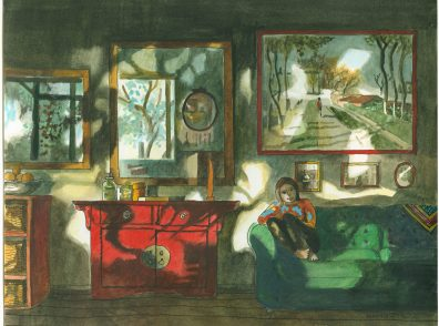 A colorful watercolor of a woman sitting on a green couch in a room with dappled light