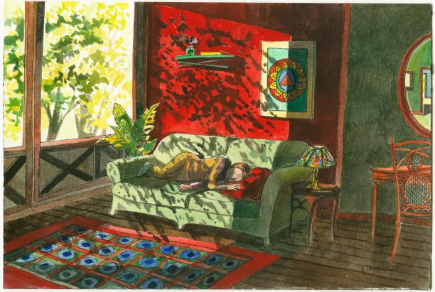 A vibrant watercolor of a woman lying on a green couch next to a sunny window