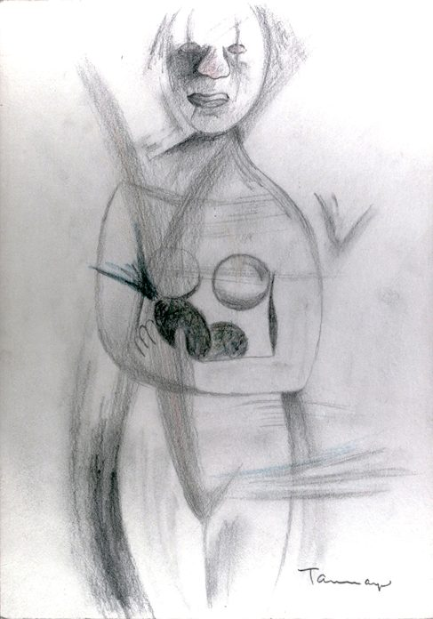 Pencil sketch of an abstract woman holding two pineapples