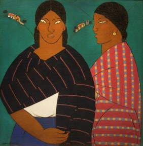A painting of two women wearing striped shawls against a green background