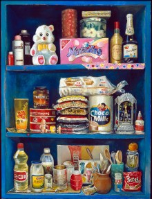 A painting of a blue cupboard with three shelves full of Mexican packaged food